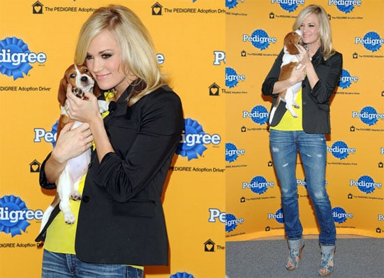 Photos of Carrie Underwood With a Puppy at the 6th Annual Pedigree Adoption Drive in NYC
