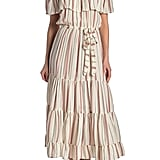 Nostalgia Apparel Off-the-Shoulder Ruffle Stripe Maxi Dress