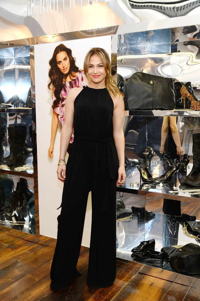 black jumpsuit ($49, originally $70) from her Kohl's line at the debut of the Jennifer Lopez for Kohl's Fall 2013 collection in NYC.