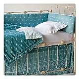 Aqua Silk Velvet Embroidered Bedding