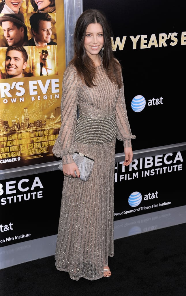 Jessica Biel carried a small clutch.