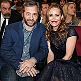 Judd Apatow and Leslie Mann were all smiles in their seats.