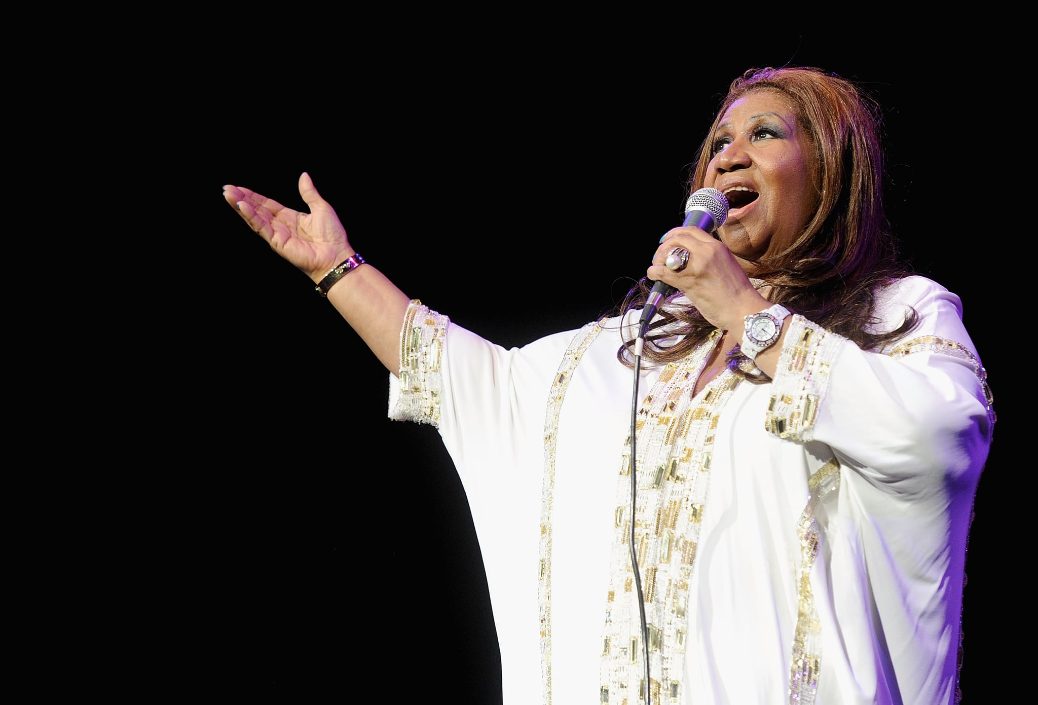 NEW YORK, NY - FEBRUARY 17:  Aretha Franklin performs at Radio City Music Hall on February 17, 2012 in New York City.  (Photo by Jamie McCarthy/Getty Images)