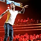 Adam Levine performed on stage at VH1's Super Bowl Fan Jam at the Pepsi Coliseum in Indiana in 2012.