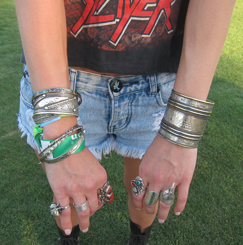 Chunky, hammered, and adorned silver pieces were a festival favorite.