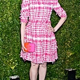 Greta Gerwig was pretty in pink at the Chanel Artists Dinner.