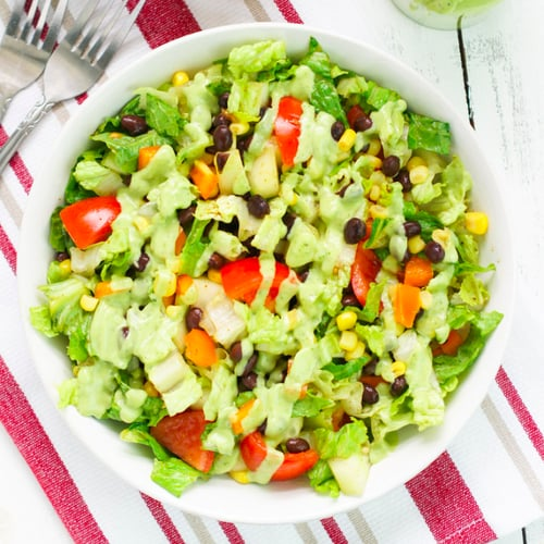 Black Bean Chopped Salad With Avocado-Cilantro Dressing