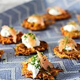 Sweet Potato Latkes with Greek Yogurt and Smoked Salmon