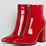 ASOS Public Desire Empire Red Block Heeled Ankle Boots ($69)
