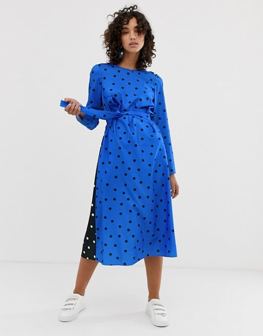 8402b831b7d Asos Long Sleeve Midi Dress in Polka Dot