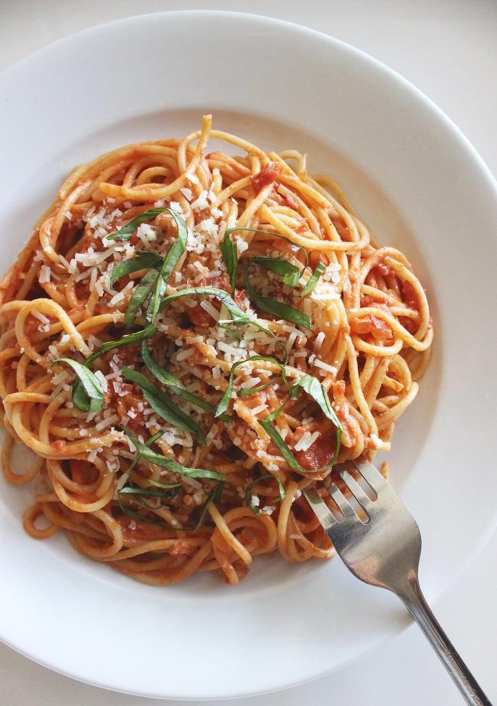 Spaghetti With Greek Yogurt Tomato Sauce