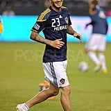 David Beckham warmed up for the game.