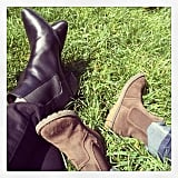 Miranda Kerr showed off her semi-matching boots with her son, Flynn. Source: Instagram user mirandakerr