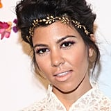 Kourtney Kardashian with an Updo and Gold Hair Accessory 2012
