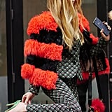 Wear Furry Coats Over Pantsuit Sets