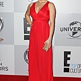 Megan Hilty wore a red gown.