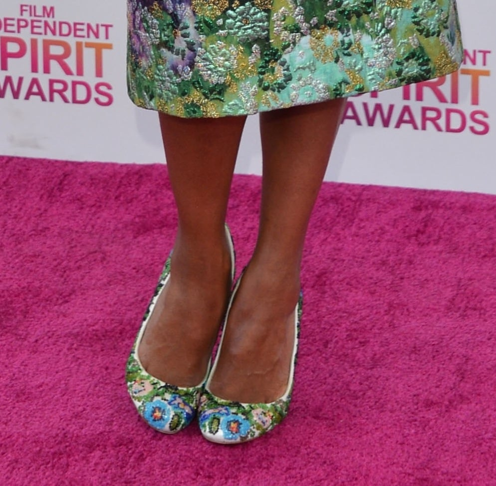 Kerry Washington's floral Christian Louboutin pumps matched perfectly with her floral Giambattista Valli dress at the Independent Spirit Awards.