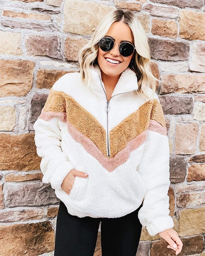 Prettygarden Zipper Color-Block Fuzzy Fleece Pullover