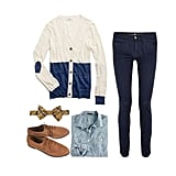 This look is boy-meets-girl at its best. Layer your sweater with a chambray button-up, then add a cheeky plaid bow tie. Skinny twill jeans will flatter your figure, while a classic pair of oxfords will pull your menswear-inspired look together. Get the look:  Madewell Colorblock Heartnote Cardigan ($72) MiH Jeans Oslo Twill Skinny Jeans ($200) J.Crew Selvedge Chambray Shirt ($98) Topshop Maths Tan Leather Brogues ($60) Brooks Brothers Plaid Bow Tie ($55)