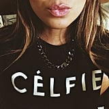 "Julie Sarinana took a cute ""Célfie"" in her new shirt. Source: Instagram user sincerelyjules"