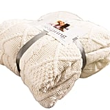 BeSpring Cable Knit Sherpa Oversized Throw