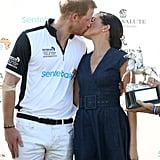 July: Meghan and Harry share a smooch after he competed in the Sentable Polo Cup.
