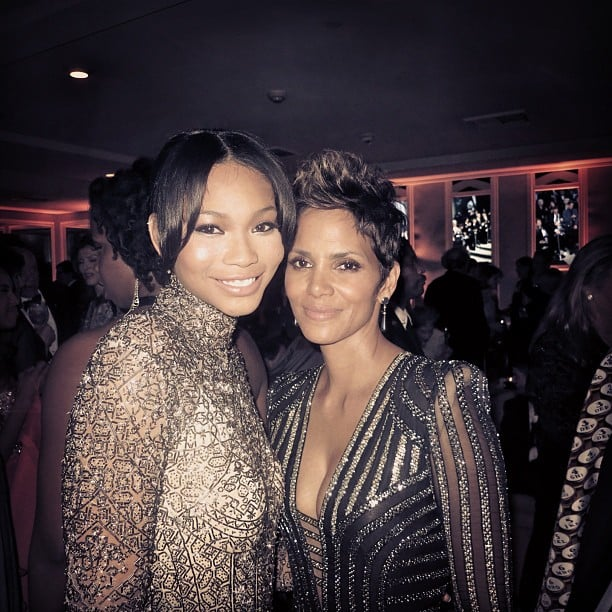 Chanel Iman snapped a photo with Halle Berry at the Vanity Fair Oscars afterparty. Source: Twitter user chaneliman