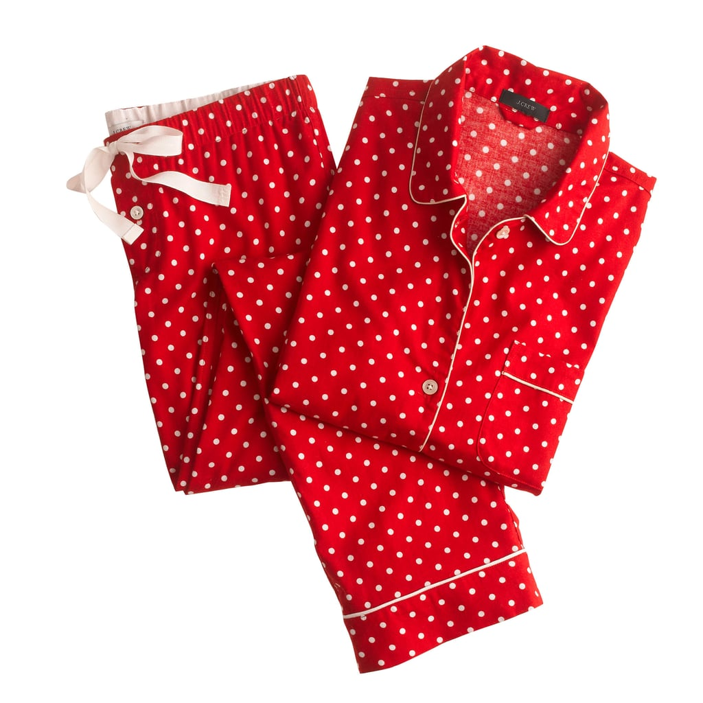 [One of my favorite holiday traditions is] opening gifts in PJs on Christmas morning. We used to do it as kids and stopped once we all moved out, but my new in-laws still do it, so it's a tradition I happily welcomed back. [I love] PJs such as the J.Crew Pajama set in polka-dot flannel ($95).