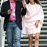 Eva Longoria wrapped up in a pashmina on day three.