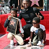 Usher and His Sons at Hollywood Walk of Fame September 2016