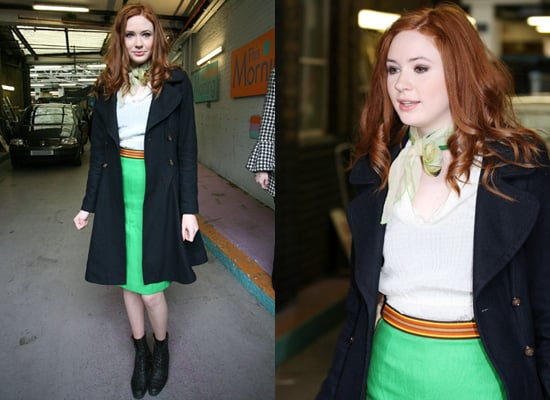 Copy Karen Gillan's Style with Green Skirt and Double Breasted Coat