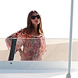Olivia Palermo enjoyed a break from her regular schedule to relax on board a yacht docked in Spain.
