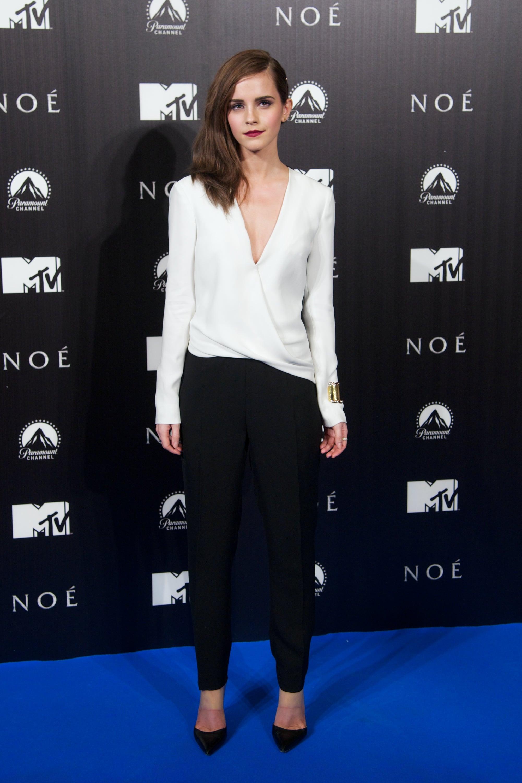 Emma Watson in J. Mendel Jumpsuit at 2014 Noah Madrid Premiere
