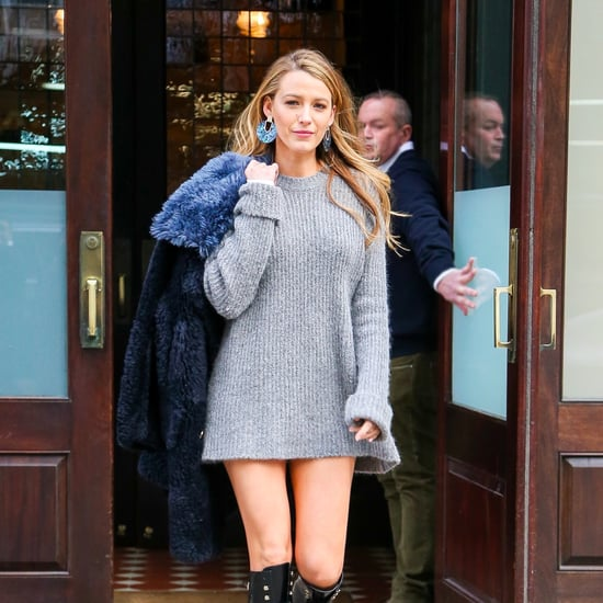 Blake Lively Wearing a Sweater Dress and Combat Boots