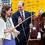 Kate showed she wasn't too princessy to play sports during an archery lesson in Bhutan in April.