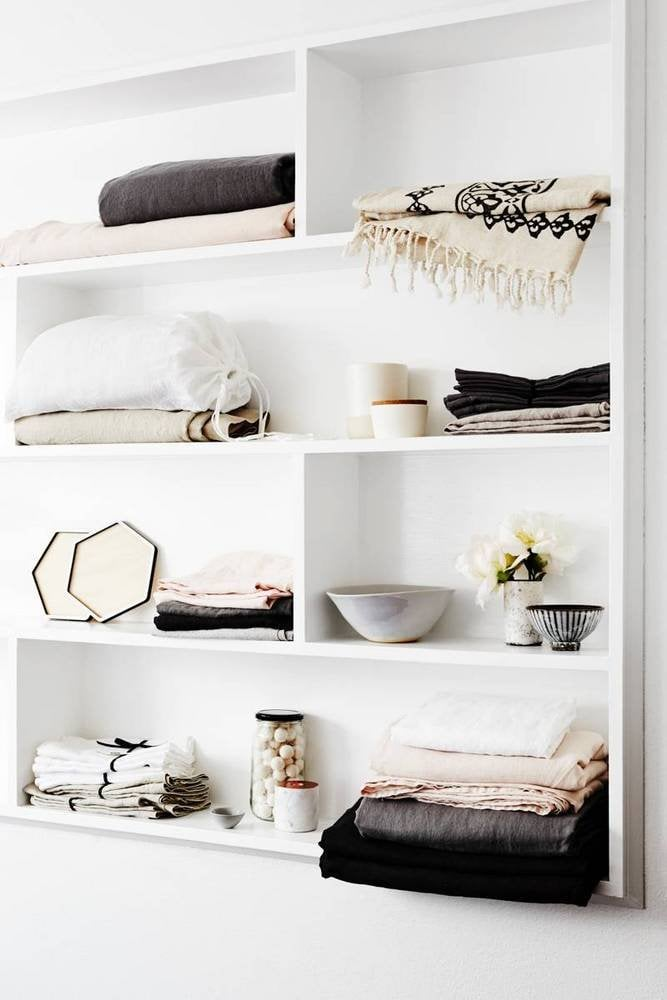 Place labels on your linen cabinet shelves to help you easily identify pillowcases from sheets or to organise sheet sizes.