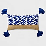 Geo Tassel Lumbar Outdoor Pillow