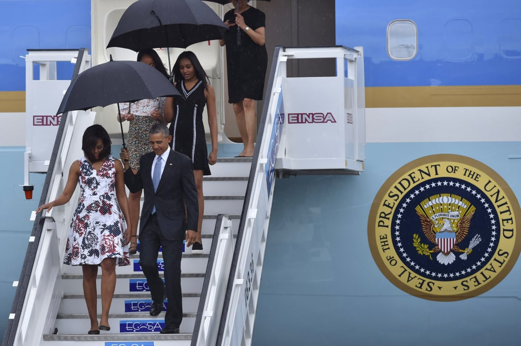 Malia completed her outfit with strappy flats.