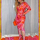 Beyoncé Wore Pink and Orange Tropical Print Dress in Miami