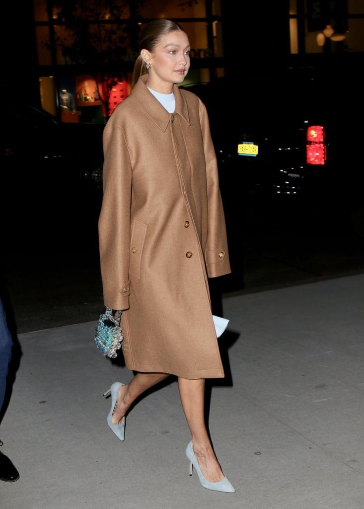 Gigi Hadid Wearing a Chanel Beaded Bag in New York City
