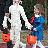 Violet Affleck dressed up as a mummy while Seraphina went as Madeline.