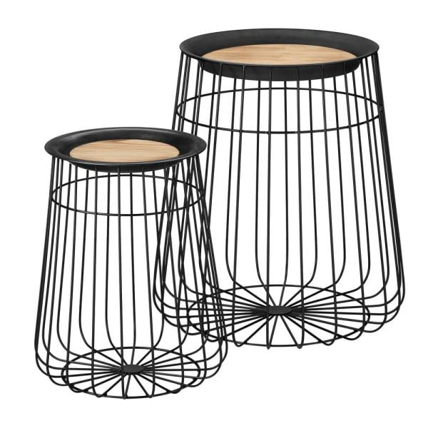 Home Decorators Collection Round Black Metal Decorative Basket with Wood Lid