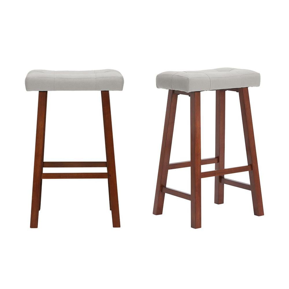 StyleWell Walnut Wood Upholstered Bar Stool with Riverbed Brown Saddle Seat