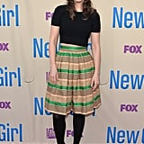 Zooey Deschanel wore a black crop top for her New Girl screening.