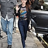 Kristen Stewart wore a graphic shirt.