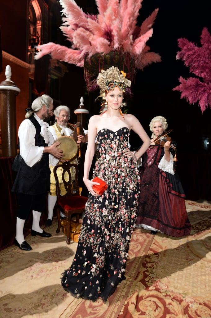 Karen Elson looked model perfect and on theme for Dolce & Gabbana's Venetian bash.