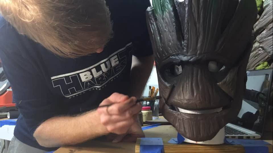 Diy groot guardians of the galaxy costume popsugar moms on oct 13 tim posted a home stretch photo taken at hour 300 of the project as he began putting the finishing touches on the face solutioingenieria Gallery