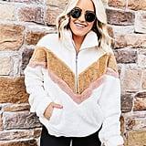 Zipper Color-Block Fuzzy Fleece Pullover