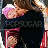 Jessica Alba planted a kiss on her daughter, Haven Warren.