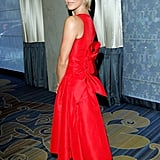 Julianne Hough wore a bright red Carolina Herrera dress to the EIF dinner in Beverly Hills.